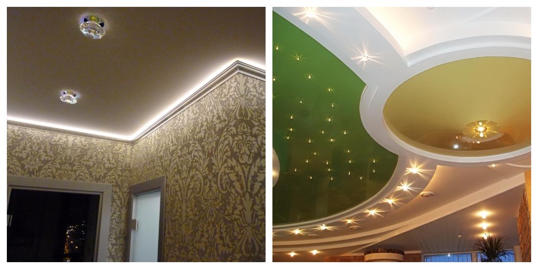 Освещение потолка светодиоидной лентой